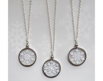 "Snowflake Necklace - Paper Cut Jewelry - Handcut Paper in Glass with 24"" silver chain"
