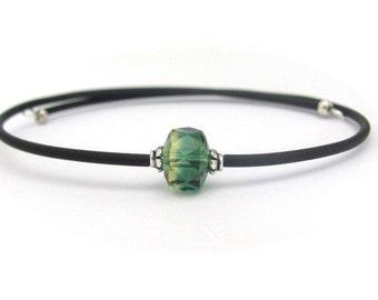 Green Quartz Bracelet, Memory Wrap Bracelet, Yoga Bracelet, Zen Bracelet, Memory Wire Bracelet, Friendship Bracelet, Topaz Bracelet