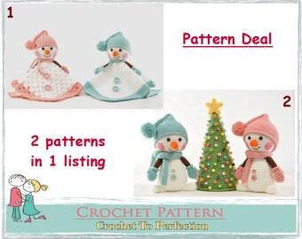 Amigurumi Pattern Deal Snowman Lovey Christmas Amigurumi Pattern Snowman Amigurumi Security Blanket Crochet Snuggle Pattern Comforter Toys