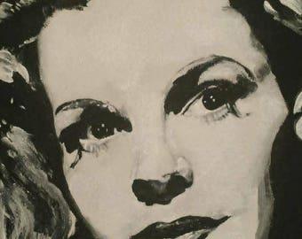 8x10 Custom Facial Portrait -  Monochromatic Acrylic Painting - Black & White