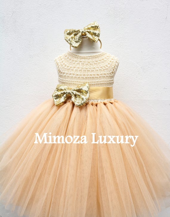 Gold Deluxe Christmas Tutu dress, gold birthday dress, gold flower girl dress, golden princess dress, gold tulle dress, gold luxury dress