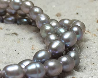 Grey Pearl Necklace and Bracelet / 3 strings / fresh-water pearls / Sterling silver lock
