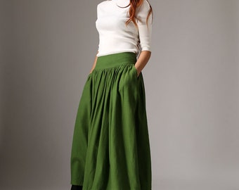 long linen skirt, maxi skirt, green skirt, fall akirt, womens skirts with wide waistband & contrasting black hem, pleated skirt (1037)