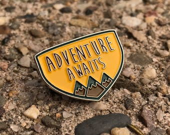 Adventure Awaits Mountains Crest Enamel Pin