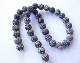 38 smooth Crackle CHEBAR 500 10 mm frosted agate round beads