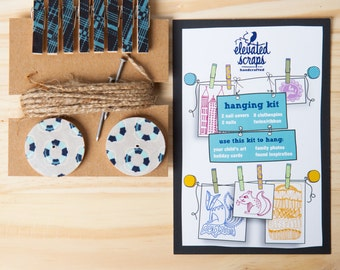 Art Hanging Kit ~ Mini Clothespins ~ Jute twine ~ Blues and Greys