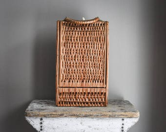Vintage Wicker Bottle Tote, Bottle Carrier
