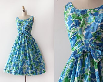 vintage 1950s Jerry Gilden dress // 50s green and blue cotton dress