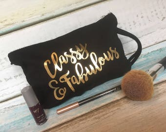 Buddstar Classy and Fabulous Black and Gold Make-Up bag