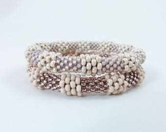 Baubled Bead Rope Bangle Set, Bead Crochet Rope Bracelet Pair in Blush and Cream Neutrals - Item 1611-1612