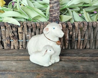 hand sculpted polymer resting ewe and lamb