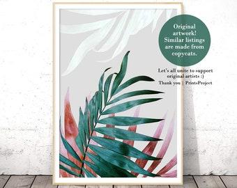 Tropical Leaves, Plant Prints, Digital Download, Fern Print, Printable Wall Art, Contemporary Art, Green Leaf, Boho Decor, Botanical Poster