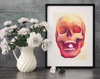 ORIGINAL Artwork, Wall Decor, Watercolor Skull