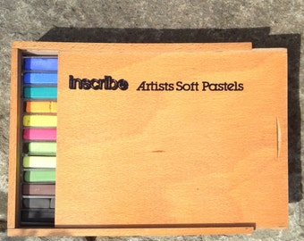 Vintage Wooden Box 36 Artists Soft Pastels by Inscribe
