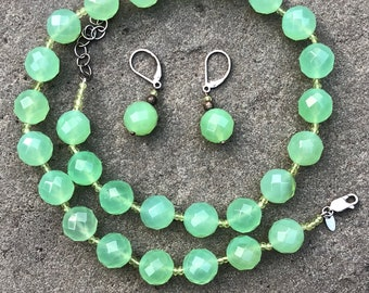 Zoe B Sterling Silver Green Faceted Bead Necklace and Matching Earrings