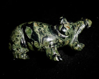 Hand Carved KABAMBA or Kambaba JASPER HIPPOPOTAMUS*aka Crocodile Jasper