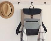 Unisex, Dark navy flap, Gray canvas backpack / Laptop bag / diaper bag  /  diaper backpack. 7 inside pockets. Waterproof lining available