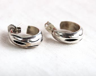 Tiny Hoop Huggy Earrings Mexican Huggies Sterling Silver Hoops Vintage Minimalist Jewelry from Mexico