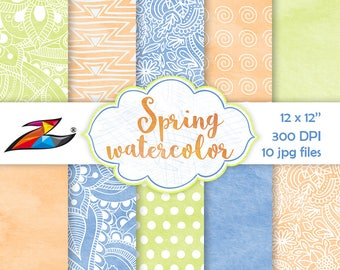 Sale Spring digital paper floral background watercolor texture easter digital paper blue orange yellow scrapbook paper