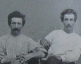 Brothers With Flair - 1870's Working Men Tintype Photograph - Free Shipping