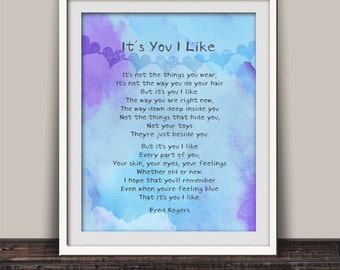 Friendship Gift, It's You I Like, Childhood Quote, Mr Rogers Quote, Inspirational Quote, Kids Room Decor, Fred Rogers Poem, Child Gift