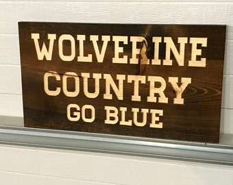 RUSTIC Engraved MICHIGAN WOLVERINE Country Wall Art Decor*