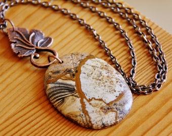 Picture Jasper pendant necklace, picture jasper necklace, picture jasper jewelry, natural stone necklace natural stone pendant long necklace