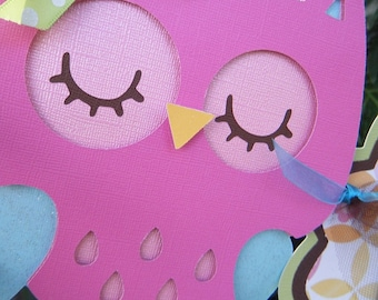 """Colorful Owl """"happy 1st birthday"""" Banner in Bright Colors"""