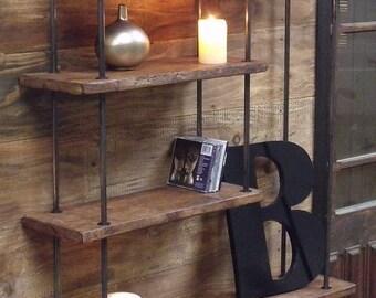 Small wall shelf industrial design metal wood