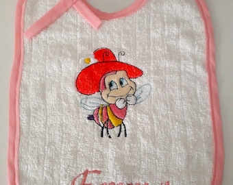 Bib birth personalized, embroidered with baby's name - bee pattern