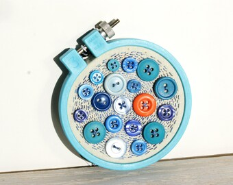 Mini Embroidery Hoop Art, Upcycled Textile And Vintage Button Art, Mango Waters, Candy Blue, Sky Blue, Button Decor, Ornament