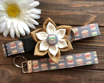 Dog collar, collar with flower, burger dog collar, hamburger dog collar, picnic dog collar, junk food collar, burger  key fob , match my dog