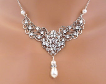 Crystal Bridal necklace, Bridal jewelry, Pearl Wedding necklace, Filigree necklace, Swarovski Necklace, Pearl necklace, Leaf necklace
