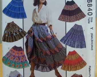 McCall's 6840 Tiered flared skirt sewing pattern XS, Small, Medium UNCUT