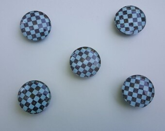 Glass Dome Cabochon Magnets, Refrigerator Magnet, Fridge Magnet, Checkerboard Magnets- Set of Five