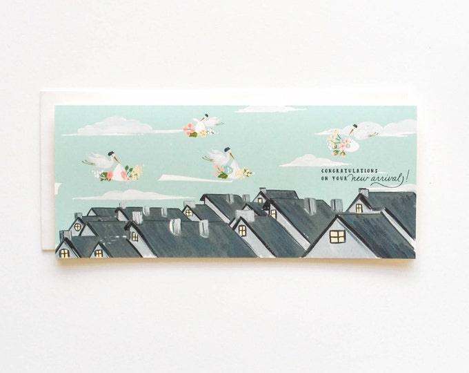 Rooftop Special Delivery Baby card