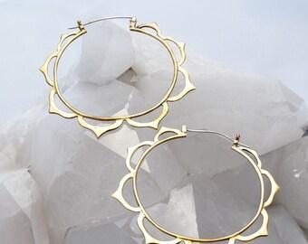 Large Hoop Earrings - Big Earrings - Boho Hoop Earrings - Lotus Earrings - Mandala Earrings - Gift for Her