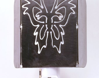 Funky Jazzy Butterfly Plasma Cut Metal Night Light in Raw Steel or Painted
