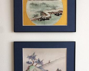 Vintage Asian Watercolor on Silk Painting Original, signed Olga Caviola 1975