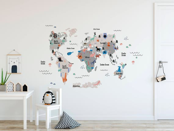 World map wall decal removable self adhesive temporary vinyl gumiabroncs Image collections