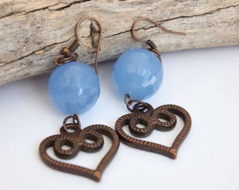 Chalcedony Earrings.Gemstone Earrings.Boho Earrings.Bohemian Earrings.Gift for Her.Vintage Earrings.Hippie.Gypsy.Modern.Dangle Earrings