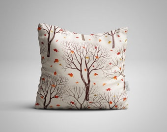 Trees and Leaf on Autumn Throw Pillow