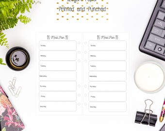 Personal Weekly Meal Plan Inserts for Personal Filofax | Medium Kikki K | Colour Crush and Equivalent Planners