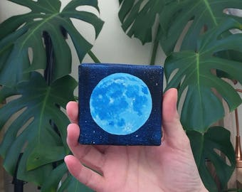 Mini Moon | Original Acrylic Painting | 7 cm