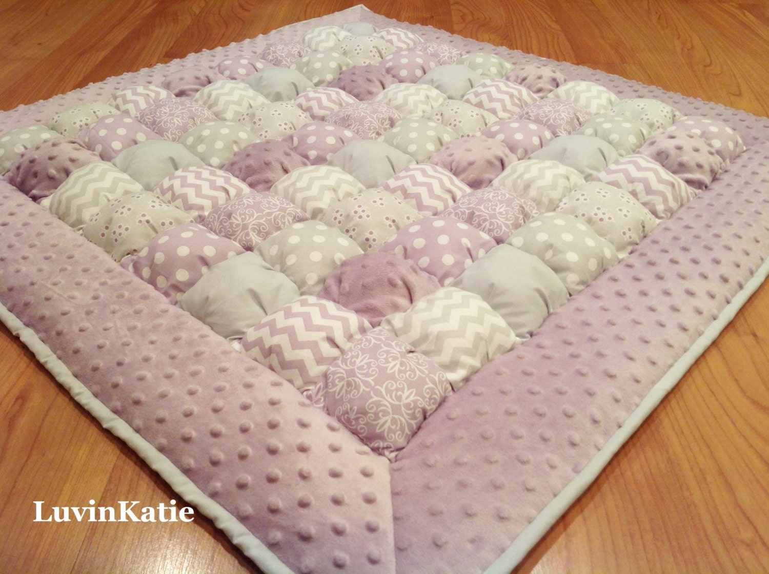 Purple Gray Baby Bubble Quilt Puff Quilt Biscuit Quilt Bubble : baby puff quilt - Adamdwight.com