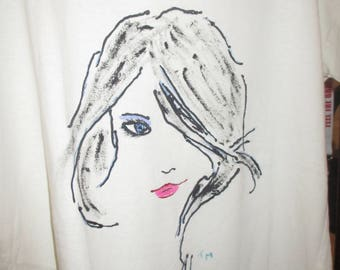 hand painted simple charcoal style sketch Top, Tank, T-Shirt, for Her, Street Trend, Beachwear, Women's Clothing, Tops & Tees