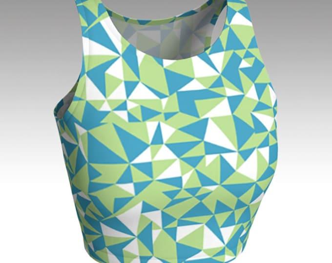 NEW!, Geometric Crop Tops, Blue, Green Crop Tops, Tops, Women's Tops, Yoga Tops, Swim Tops, Athletic Tops