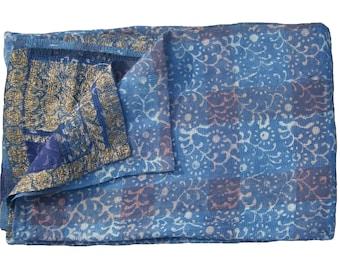 Indigo Kantha Quilt Reversible  Sari Kantha Quilt Indigo Throw Bed Spread