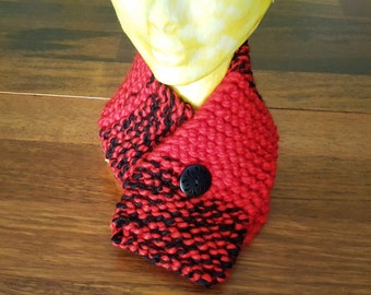 Warm winter - kids scarf - Red and black scarf - childrens scarf - handmade childs - hand knit - winter scarf - neck wrap