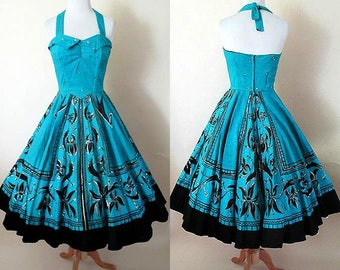 Muy Bonita! 1950's Hand Painted Mexican Halter Dress w/ Silver Sequins and Full Circle Skirt Rockabilly Pinup girl vintage Mexican Size S